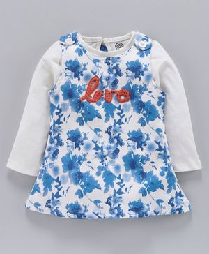 Tambourine Floral Printed Dungaree Dress With Full Sleeves Top - Blue & White