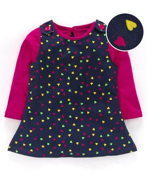 Tambourine Heart Print Dungaree Dress With Full Sleeves Top - Navy Blue & Pink