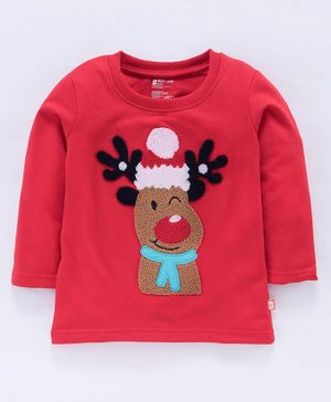 Bodycare Full Sleeves Tee Reindeer Design- Red