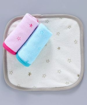 Pink Rabbit Terry Hand & Face Towels Set of 3 - Multicolor