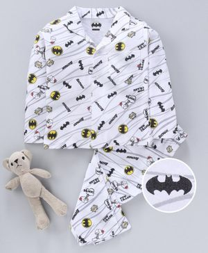Eteenz Full Sleeves Night Suit Batman Logo Print - White