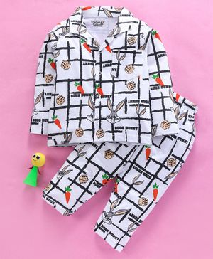 Eteenz Full Sleeves Night Suit Bunny Print - White