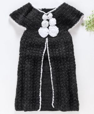 Rich Handknits Cap Sleeves Sweater Flower Motif - Charcoal Grey