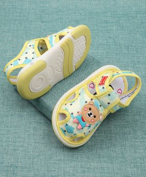 Cute Walk by Babyhug Sandals Bear Patch - Yellow