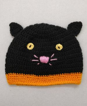 Knit Masters Cat Design Cap - Black