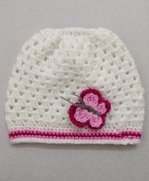 Knit Masters Butterfly Design Cap - White & Pink