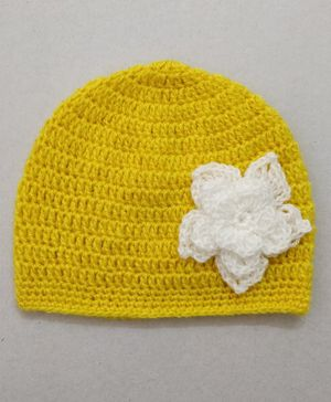 Knit Masters Flower Design Cap - Yellow