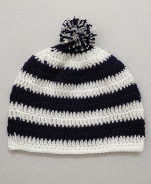 Knit Masters Striped Pom Pom Cap - Navy Blue