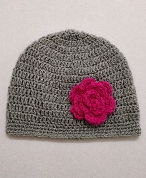 Knit Masters Flower Design Cap - Grey