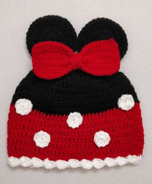 Knit Masters Mouse Ears Bow Applique Cap - Red & Black