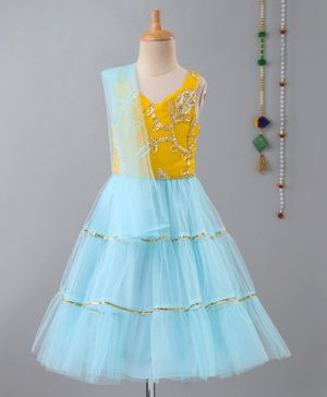 Many Frocks & Sleeveless Gota Patti Work Choli With Lehenga & Dupatta - Yellow & Blue