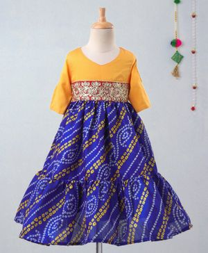 Many Frocks & Three Fourth Sleeves Embroidered Belt Bandhini Flare Gown - Yellow