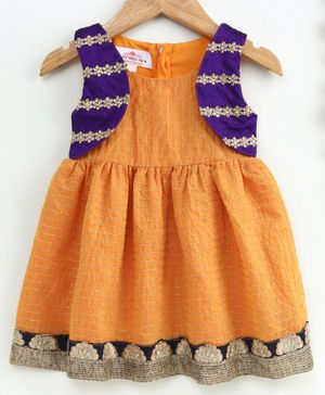 Many Frocks & Sleeveless Flower Embroidered Koti Attached Dress - Orange