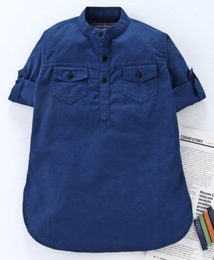 Jash Kids Full Sleeves Solid Color Cotton Kurta - Blue