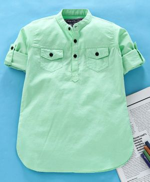 Jash Kids Full Sleeves Solid Color Cotton Kurta - Green