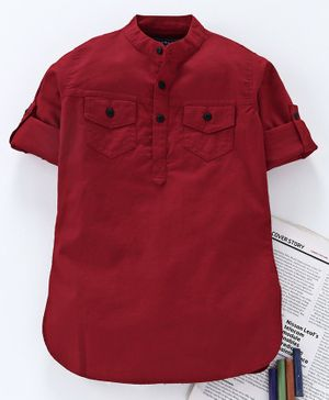Jash Kids Full Sleeves Solid Color Cotton Kurta - Maroon