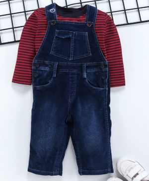 Little Kangaroos Full Length Dungaree With Inner Striped Tee - Blue Red