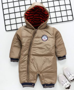 Little Kangaroos Full Sleeves Winter Wear Hooded Romper - Beige