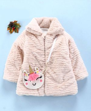 Little Kangaroos Full Sleeves Padded Fur Jacket - Light Pink