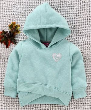 Little Kangaroos Full Sleeves Hooded Sweatshirt Glittery Heart Patch - Aqua Blue