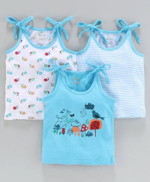 Ohms Sleeveless Printed Vests Pack of 3 - White Blue