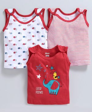 Ohms Sleeveless Printed Vests Pack of 3 - Red White