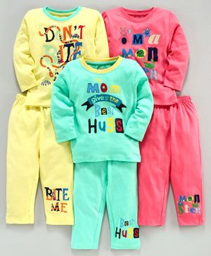 Ohms Full Sleeves Tee & Lounge Pant Text Print Pack of 3 - Pink Green Yellow