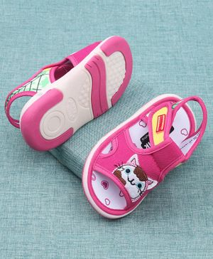 Cute Walk by Babyhug Open Toe Sandal Kitty Embroidered - Pink