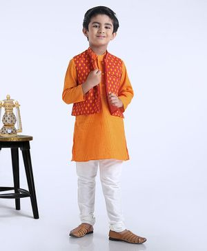 Exclusive from Jaipur Full Sleeves Kurta Pyjama Sets Orange 0 Male