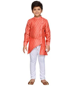 AJ Dezines Full Sleeves Asymmetrical Button Flap Motif Pattern Kurta With Pyjama - Red