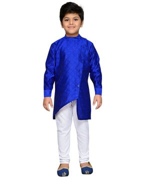 AJ Dezines Full Sleeves Motif Pattern Kurta With Pyjama - Blue & White