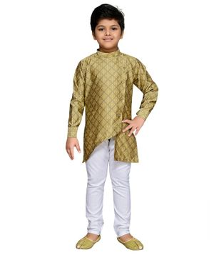 AJ Dezines Full Sleeves Motif Pattern Kurta With Pyjama - Green & White