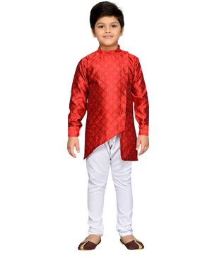 AJ Dezines Full Sleeves Motif Pattern Kurta With Pyjama - Maroon & White