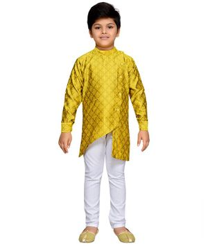 AJ Dezines Full Sleeves Motif Pattern Kurta With Pyjama - Yellow & White