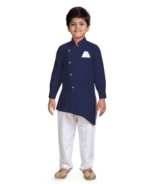 AJ Dezines Full Sleeves Asymmetrical Hem Kurta With Pyjama - Blue & White