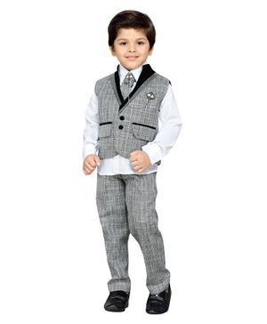 AJ Dezines Full Sleeves Self Design Three Piece Party Suit With Tie - Grey