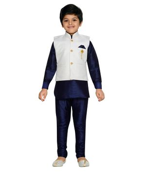 AJ Dezines Full Sleeves Kurta & Pyjama Set With Jacket - Blue
