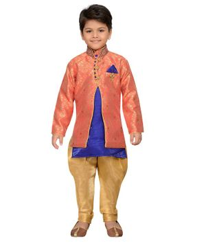 AJ Dezines Full Sleeveless Motif Pattern Sherwani With Pyjama - Peach