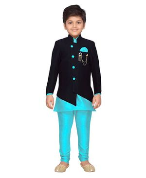 AJ Dezines Solid Full Sleeves Kurta With Jacket & Churidar - Blue