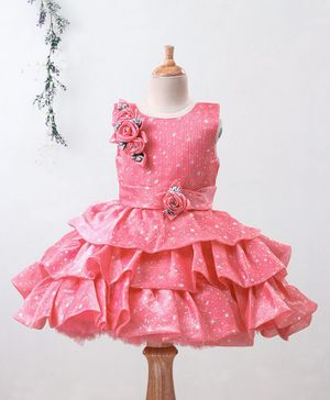 Enfance All Over Stars Printed Sleeveless Flower Applique Layered Dress - Pink