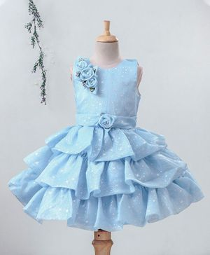Enfance All Over Stars Printed Sleeveless Flower Applique Layered Dress - Blue