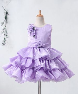 Enfance All Over Stars Printed Sleeveless Flower Applique Layered Dress - Purple