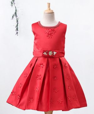 Enfance Flower Applique Sleeveless Box Pleated Dress - Red