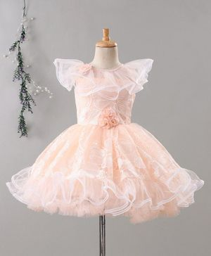 Enfance Flower Embroidery Cap Sleeves Tulle Flare Dress - Peach