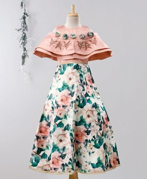 Enfance Half Sleeves Flower Print Cold Shoulder Gown - Peach