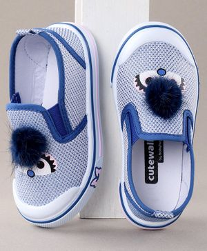 Cute Walk By Babyhug Canvas Shoes Pom Pom Detailing - Blue