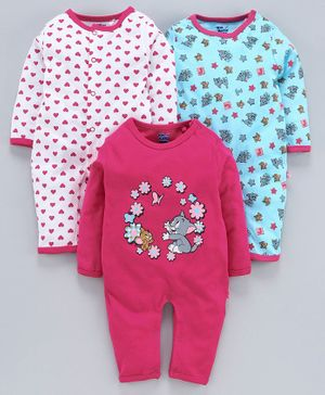 Mom's Love Full Sleeves Tom & Jerry Printed Rompers Set of 3 - Pink