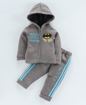 Mom's Love Winter Wear Full Sleeves Hooded Tee & Lounge Pant Batman Print - Grey
