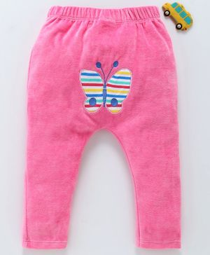 Mom's Love Winter Wear Full Length Diaper Leggings Butterfly Embroidery - Pink