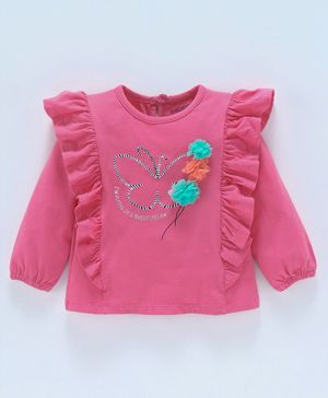 Babyoye Full Sleeves Frilled Cotton Top Corsage Applique - Pink